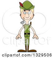 Clipart Of A Cartoon Happy Tall Skinny White Robin Hood Man Royalty Free Vector Illustration