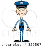 Clipart Of A Cartoon Happy Tall Skinny White Man Police Officer Royalty Free Vector Illustration
