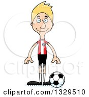 Clipart Of A Cartoon Happy Tall Skinny White Man Soccer Player Royalty Free Vector Illustration
