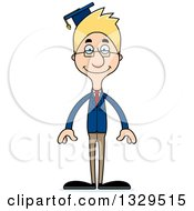 Clipart Of A Cartoon Happy Tall Skinny White Man Professor Royalty Free Vector Illustration