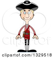 Clipart Of A Cartoon Happy Tall Skinny White Pirate Man Royalty Free Vector Illustration