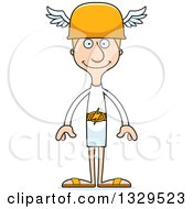 Clipart Of A Cartoon Happy Tall Skinny White Hermes Man Royalty Free Vector Illustration
