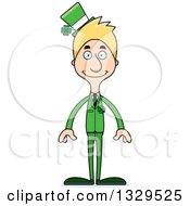 Clipart Of A Cartoon Happy Tall Skinny White Irish St Patricks Day Man Royalty Free Vector Illustration