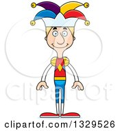 Clipart Of A Cartoon Happy Tall Skinny White Man Jester Royalty Free Vector Illustration by Cory Thoman