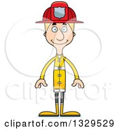 Clipart Of A Cartoon Happy Tall Skinny White Man Firefighter Royalty Free Vector Illustration by Cory Thoman