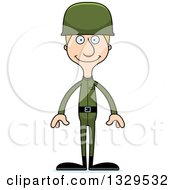 Clipart Of A Cartoon Happy Tall Skinny White Man Army Soldier Royalty Free Vector Illustration