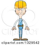 Clipart Of A Cartoon Happy Tall Skinny White Construction Worker Man Royalty Free Vector Illustration by Cory Thoman