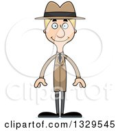 Clipart Of A Cartoon Happy Tall Skinny White Detective Man Royalty Free Vector Illustration by Cory Thoman