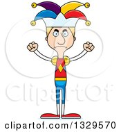 Clipart Of A Cartoon Angry Tall Skinny White Man Jester Royalty Free Vector Illustration by Cory Thoman