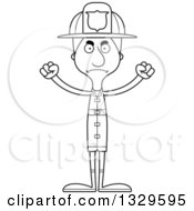 Lineart Clipart Of A Cartoon Black And White Angry Tall Skinny White Man Firefighter Royalty Free Outline Vector Illustration