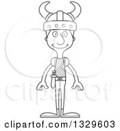Lineart Clipart Of A Cartoon Black And White Happy Tall Skinny White Viking Man Royalty Free Outline Vector Illustration