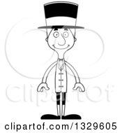 Cartoon Black And White Happy Tall Skinny White Man Circus Ringmaster
