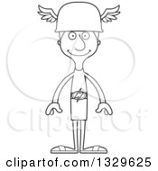 Lineart Clipart Of A Cartoon Black And White Happy Tall Skinny White Hermes Man Royalty Free Outline Vector Illustration