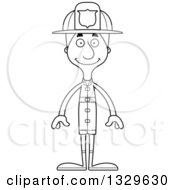 Lineart Clipart Of A Cartoon Black And White Happy Tall Skinny White Man Firefighter Royalty Free Outline Vector Illustration