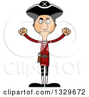 Clipart Of A Cartoon Angry Tall Skinny Hispanic Man Pirate Royalty Free Vector Illustration