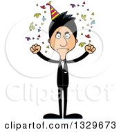 Clipart Of A Cartoon Angry Tall Skinny Hispanic Party Man Royalty Free Vector Illustration