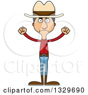 Clipart Of A Cartoon Angry Tall Skinny Hispanic Cowboy Man Royalty Free Vector Illustration