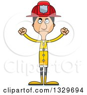 Clipart Of A Cartoon Angry Tall Skinny Hispanic Man Firefighter Royalty Free Vector Illustration