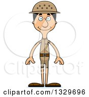 Clipart Of A Cartoon Happy Tall Skinny Hispanic Man Zookeeper Royalty Free Vector Illustration
