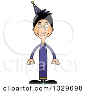 Clipart Of A Cartoon Happy Tall Skinny Hispanic Wizard Man Royalty Free Vector Illustration