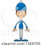 Clipart Of A Cartoon Happy Tall Skinny Hispanic Man In Winter Clothes Royalty Free Vector Illustration
