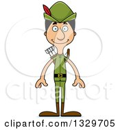 Clipart Of A Cartoon Happy Tall Skinny Hispanic Robin Hood Man Royalty Free Vector Illustration