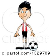 Clipart Of A Cartoon Happy Tall Skinny Hispanic Man Soccer Player Royalty Free Vector Illustration