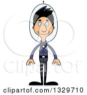 Clipart Of A Cartoon Happy Tall Skinny Hispanic Futuristic Space Man Royalty Free Vector Illustration