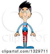 Clipart Of A Cartoon Happy Tall Skinny Hispanic Super Hero Man Royalty Free Vector Illustration