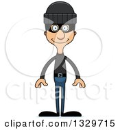 Clipart Of A Cartoon Happy Tall Skinny Hispanic Man Robber Royalty Free Vector Illustration