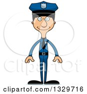 Clipart Of A Cartoon Happy Tall Skinny Hispanic Man Police Officer Royalty Free Vector Illustration