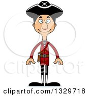 Clipart Of A Cartoon Happy Tall Skinny Hispanic Man Pirate Royalty Free Vector Illustration by Cory Thoman