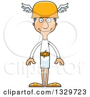 Clipart Of A Cartoon Happy Tall Skinny Hispanic Hermes Man Royalty Free Vector Illustration