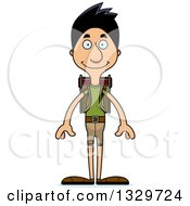 Clipart Of A Cartoon Happy Tall Skinny Hispanic Man Hiker Royalty Free Vector Illustration