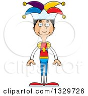 Clipart Of A Cartoon Happy Tall Skinny Hispanic Man Jester Royalty Free Vector Illustration