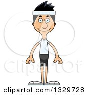 Clipart Of A Cartoon Happy Tall Skinny Hispanic Fitness Man Royalty Free Vector Illustration
