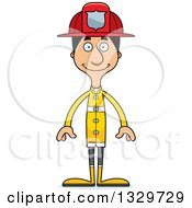 Clipart Of A Cartoon Happy Tall Skinny Hispanic Man Firefighter Royalty Free Vector Illustration