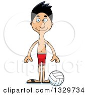 Clipart Of A Cartoon Happy Tall Skinny Hispanic Man Beach Volleyball Player Royalty Free Vector Illustration