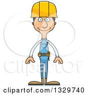 Clipart Of A Cartoon Happy Tall Skinny Hispanic Man Construction Worker Royalty Free Vector Illustration