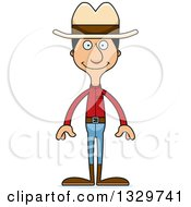 Clipart Of A Cartoon Happy Tall Skinny Hispanic Cowboy Man Royalty Free Vector Illustration by Cory Thoman