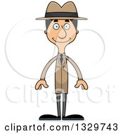Clipart Of A Cartoon Happy Tall Skinny Hispanic Man Detective Royalty Free Vector Illustration