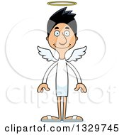 Clipart Of A Cartoon Happy Tall Skinny Hispanic Man Angel Royalty Free Vector Illustration