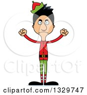 Clipart Of A Cartoon Angry Tall Skinny Hispanic Christmas Elf Man Royalty Free Vector Illustration by Cory Thoman