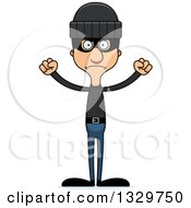 Clipart Of A Cartoon Angry Tall Skinny Hispanic Man Robber Royalty Free Vector Illustration by Cory Thoman