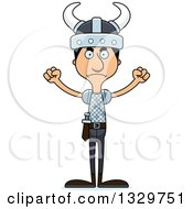 Clipart Of A Cartoon Angry Tall Skinny Hispanic Man Viking Royalty Free Vector Illustration by Cory Thoman