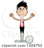 Clipart Of A Cartoon Angry Tall Skinny Hispanic Man Volleyball Player Royalty Free Vector Illustration