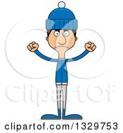 Clipart Of A Cartoon Angry Tall Skinny Hispanic Man In Winter Clothes Royalty Free Vector Illustration by Cory Thoman