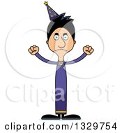 Clipart Of A Cartoon Angry Tall Skinny Hispanic Wizard Man Royalty Free Vector Illustration