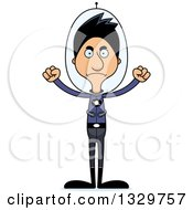 Clipart Of A Cartoon Angry Tall Skinny Hispanic Futuristic Space Man Royalty Free Vector Illustration