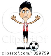 Clipart Of A Cartoon Angry Tall Skinny Hispanic Man Soccer Player Royalty Free Vector Illustration